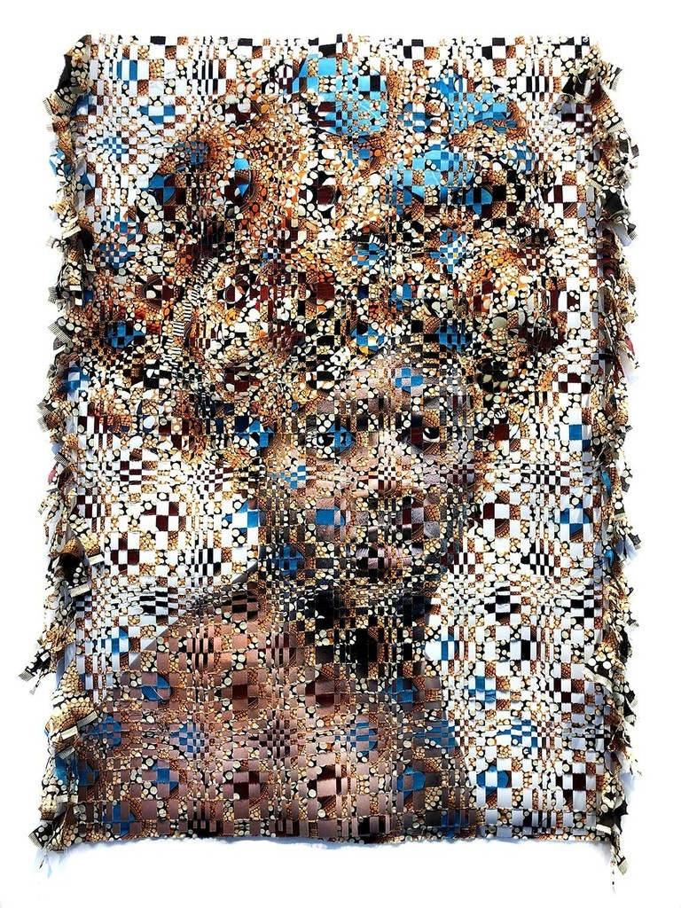 Archival pigment print hand woven with wax print fabric by Kyle Meyer
