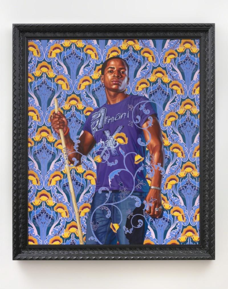 oil artwork on linen portrait of jean baptiste by Kehinde Wiley