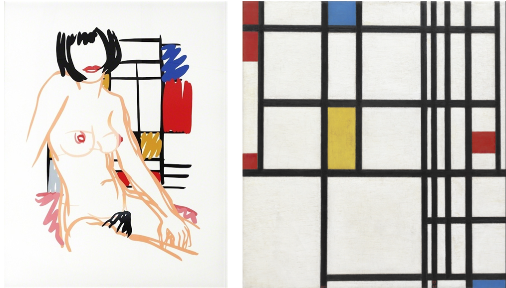 Monica Sitting with Mondrian Screenprintby Tom Wesselmann