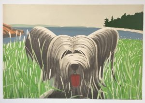 a lithograph by alex katz called dog at duck trap