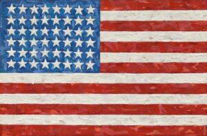 Encaustic on silk flag canvas artwork by Jasper Johns