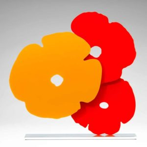 Yellow and Red Poppies shaped aluminum by Donald Sultan