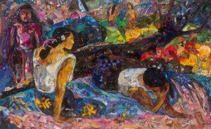 Reclining Tahitian Women painting by Vik Muniz