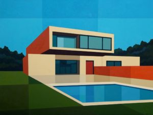 Cantilever Pool House oil painting by Andy Burgess